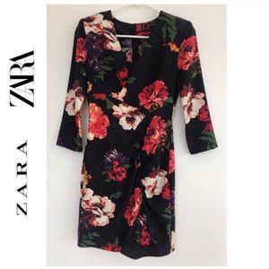ZARA Stunning black floral v-neck mini dress